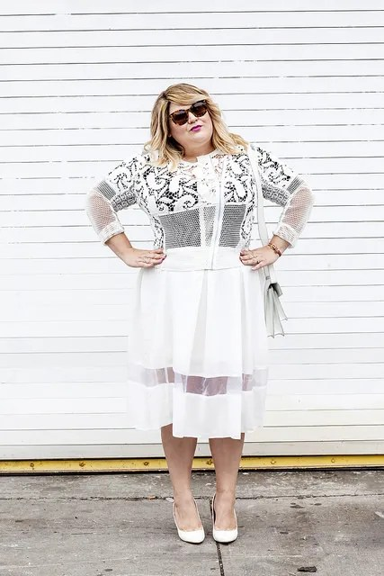 all-white multi-texture plus size outfit with sheer cut-outs