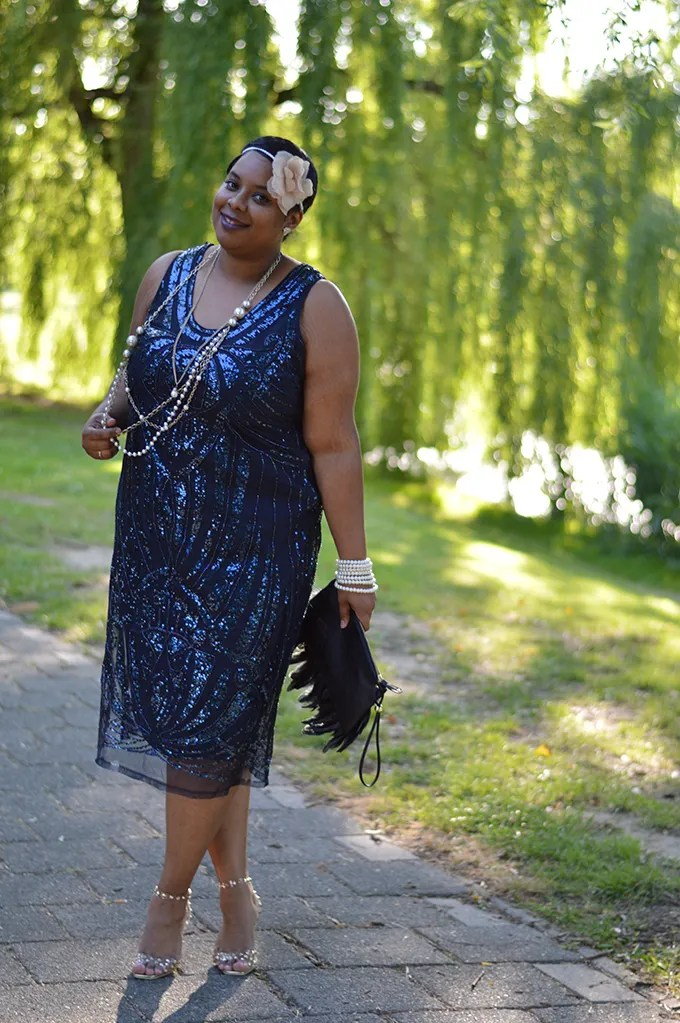 plus size blue sequin flapper dress outfit