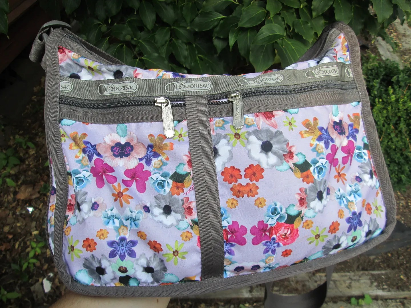 floral lesportsac purse everyday deluxe bag with gray trim