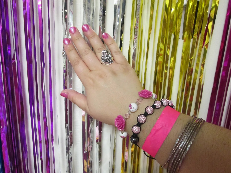 pink rose and rhinestone bracelets