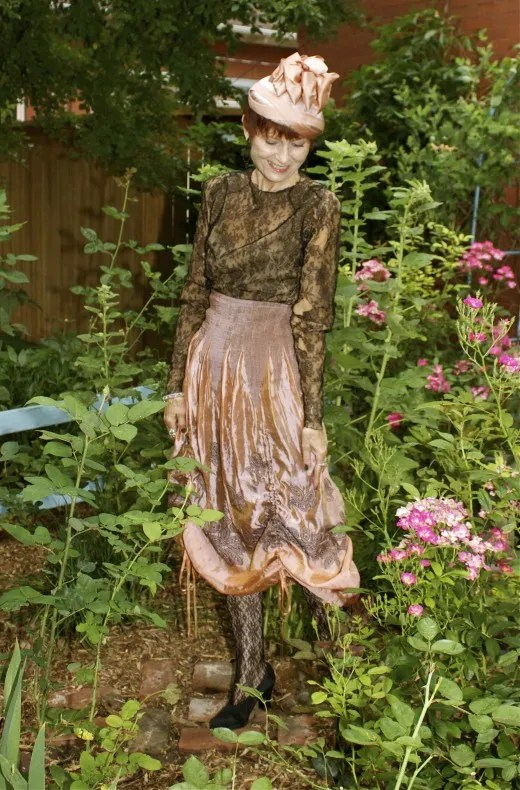 lace bronze metallic vintage outfit with hat