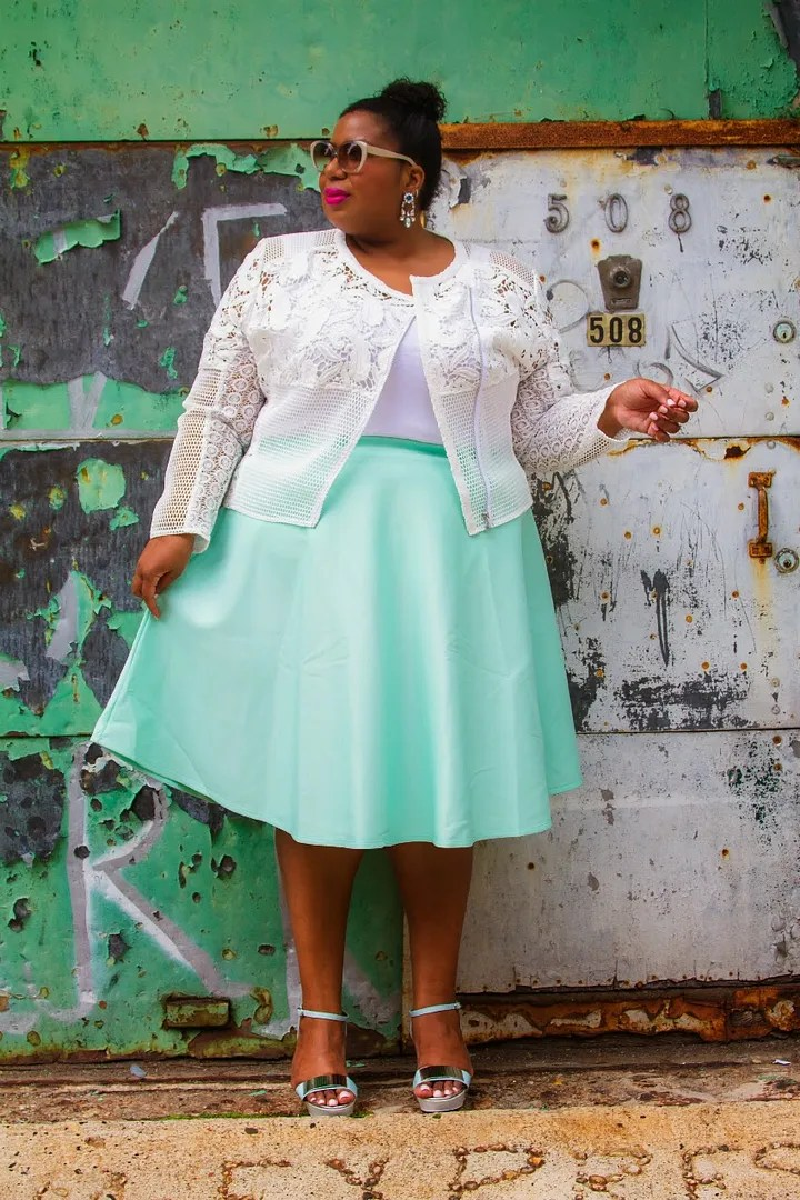 plus size outfit with white crochet lace jacket, white top, mint green midi skirt