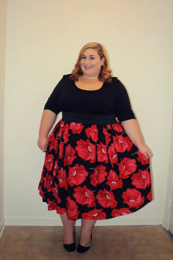 plus size outfit floral black and red poppy dress scarlett and jo prom dress