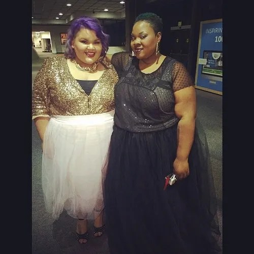 two plus size outfits - gold sequin top with light pink tutu, and black and gray mesh top with black tutu
