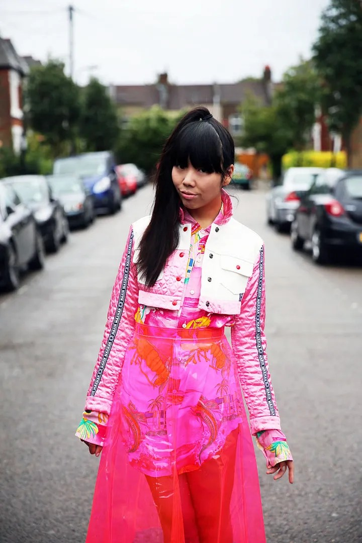 susie bubble pink outfit with plastic skirt