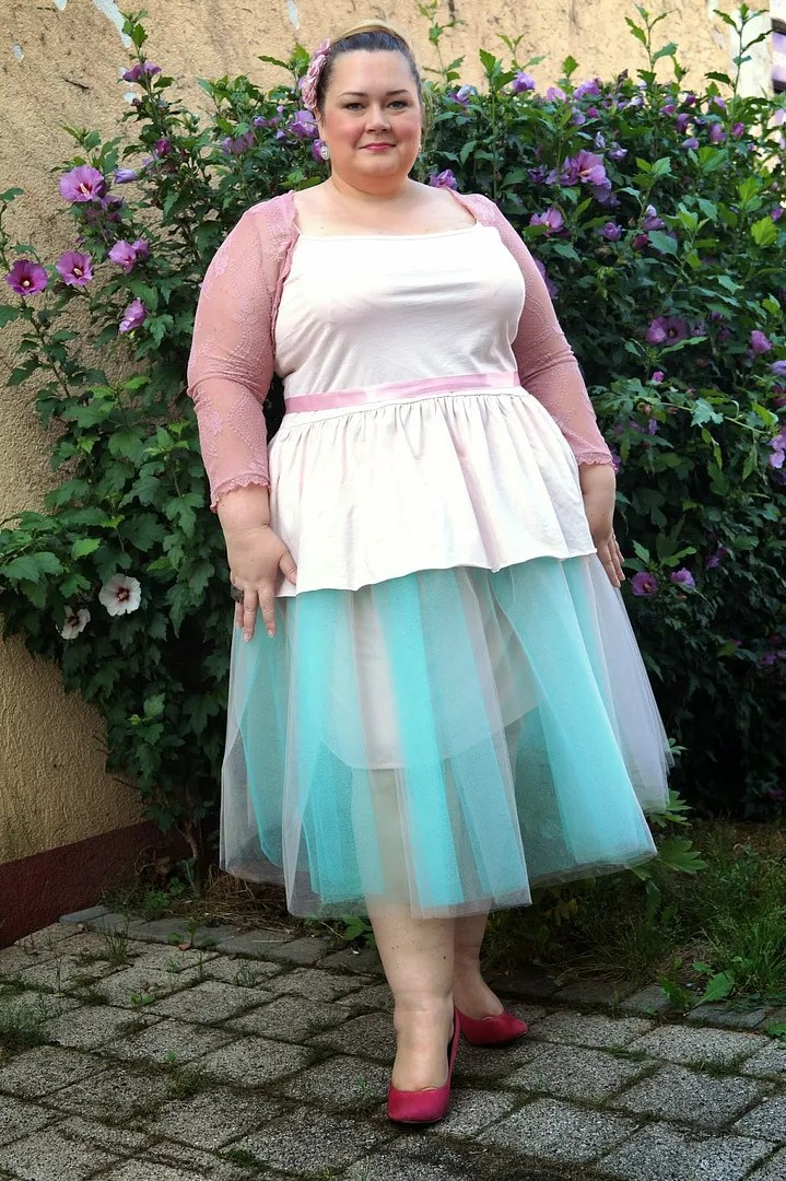 plus size outfit white top and aqua blue tutu with light pink cardigan