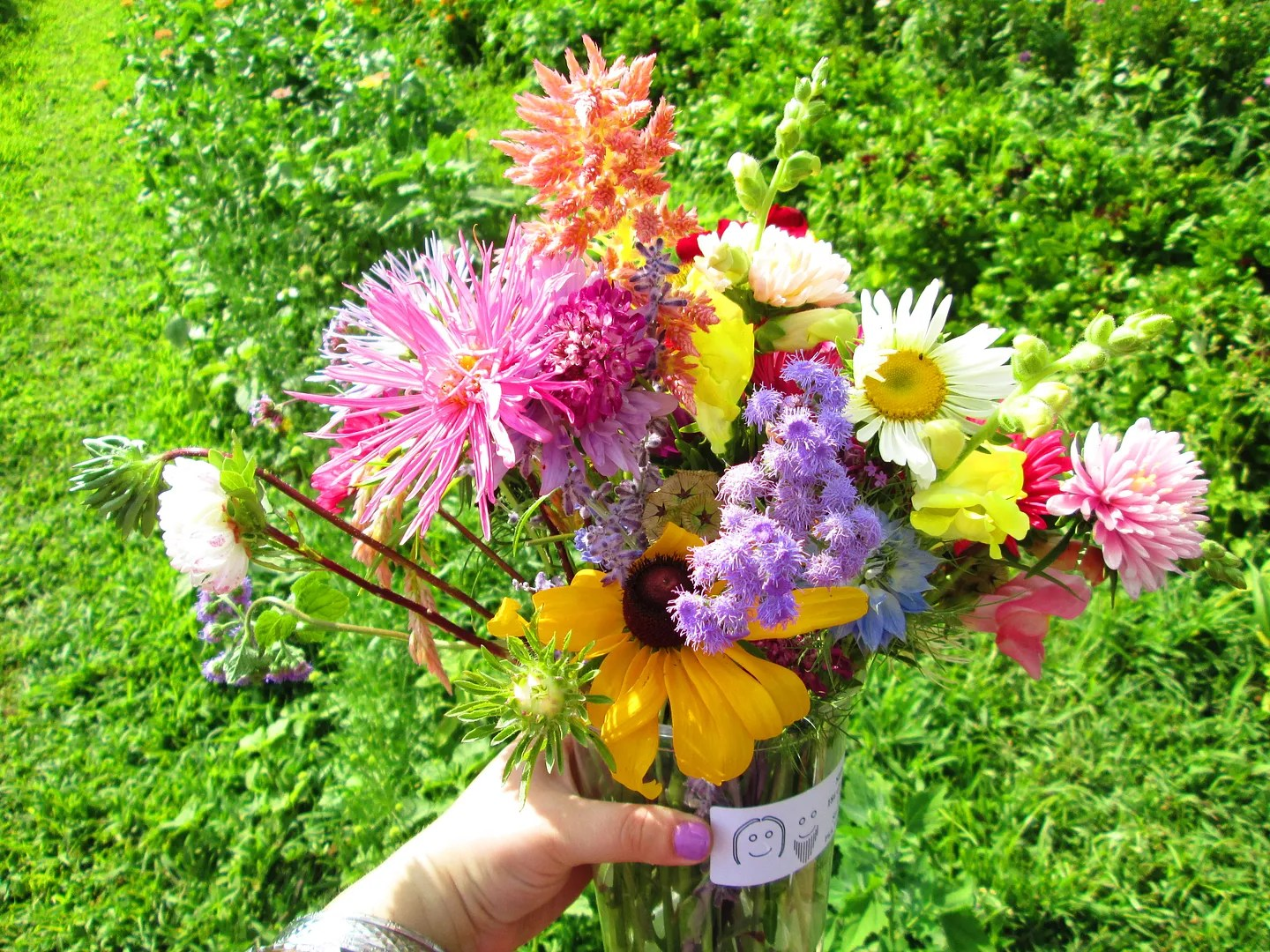 bouquet of colorful flowers in a field