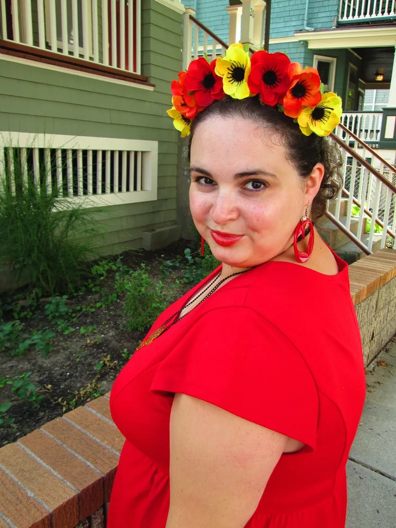plus size outfit red dress with flower crown
