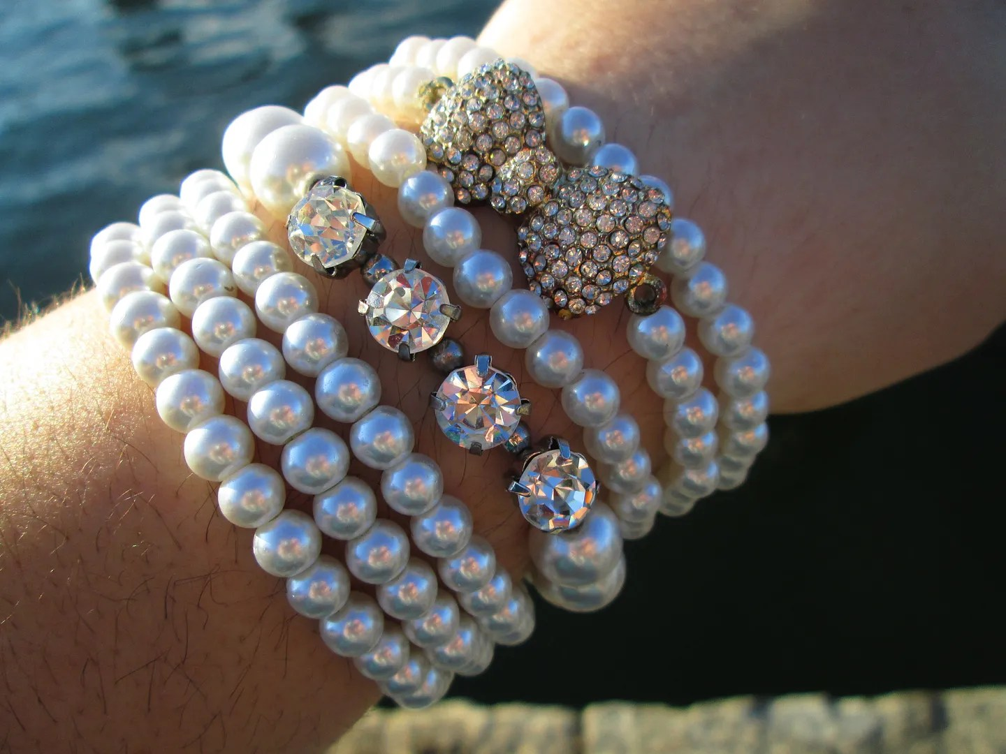 plus size pearl bracelets with rhinestone and bow accents
