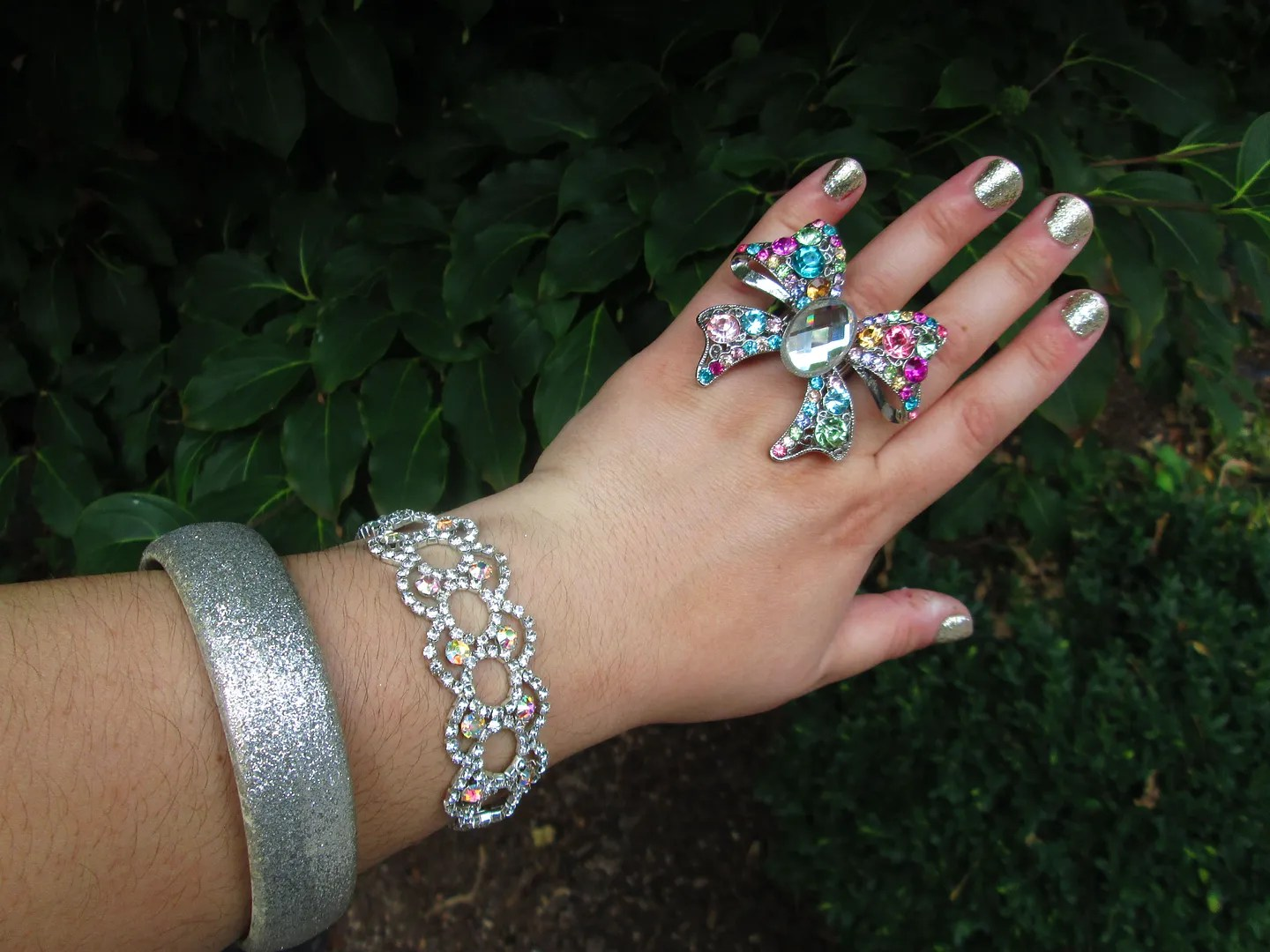 rhinestone rainbow and silver jewelry rings and bracelets
