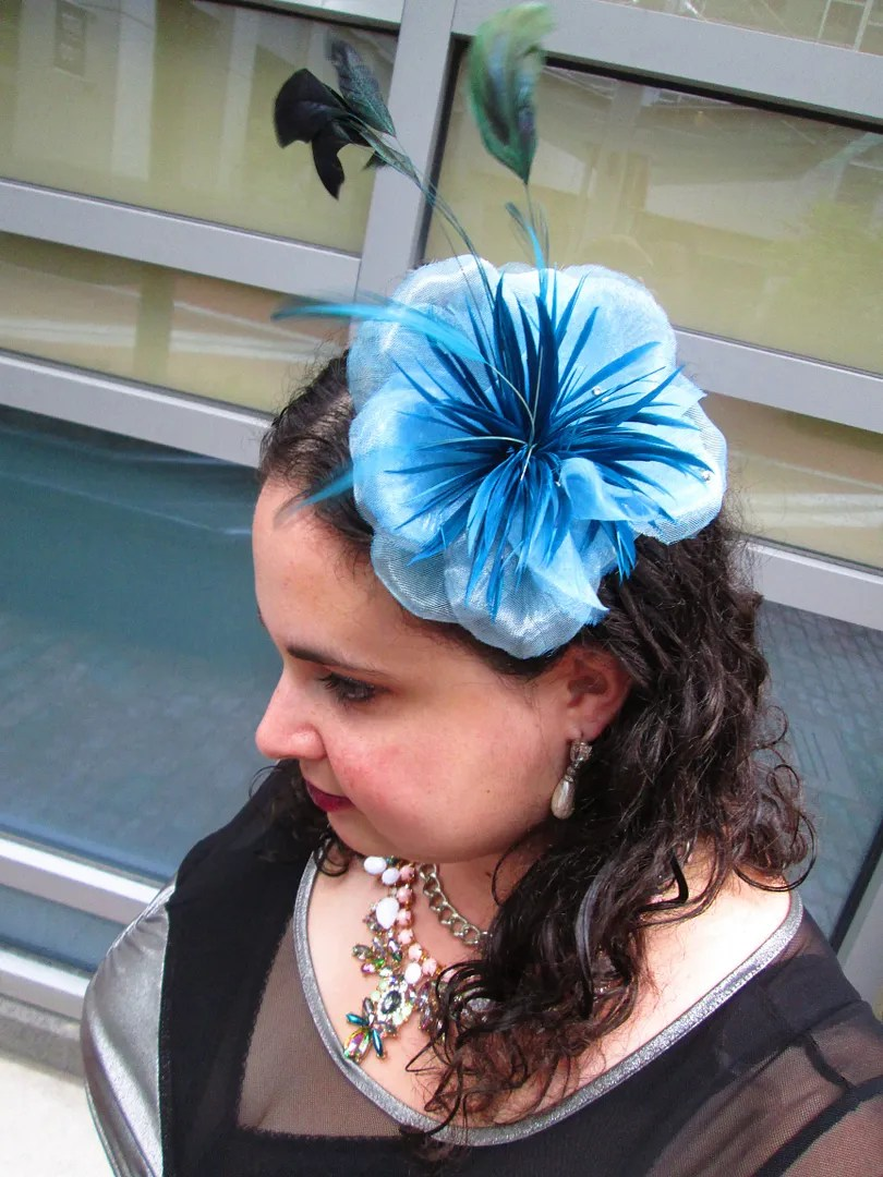 blue flower and feather fascinator headpiece
