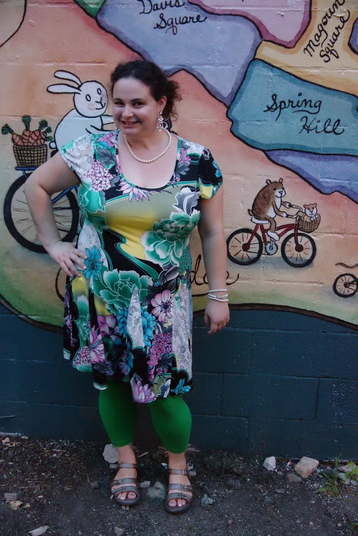 plus size green multi-patterned dress
