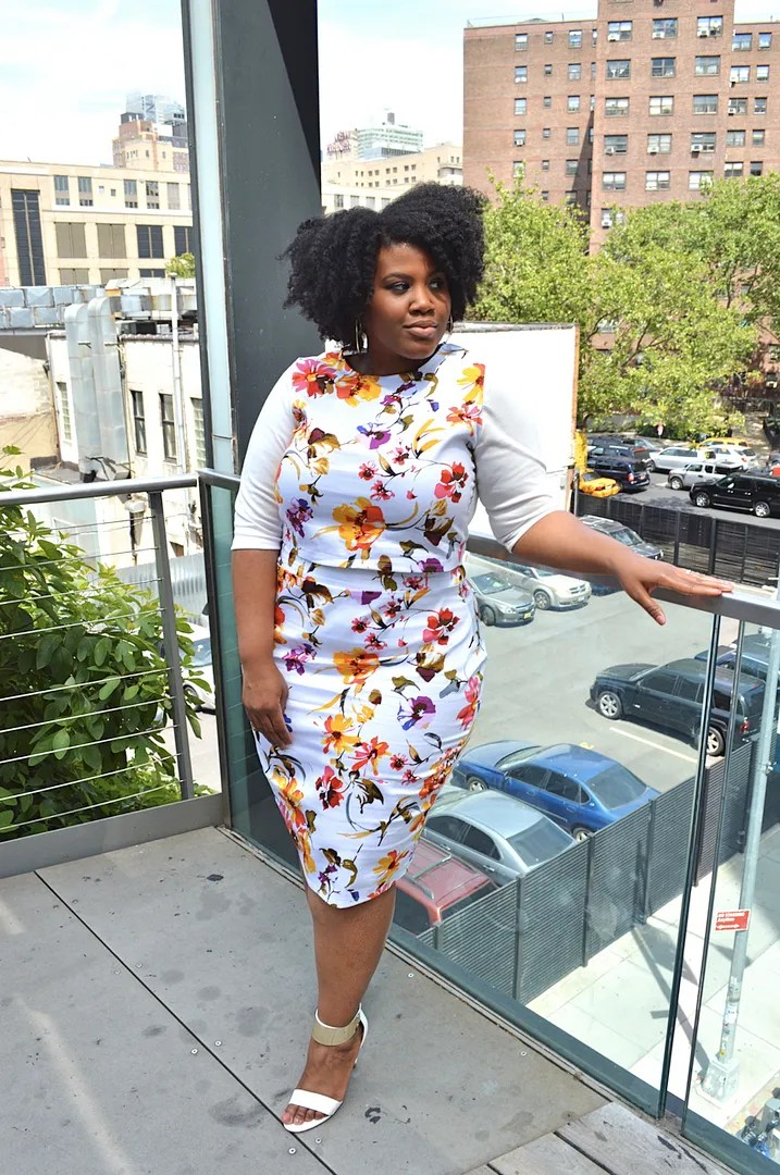 plus size outfit white floral top and skirt