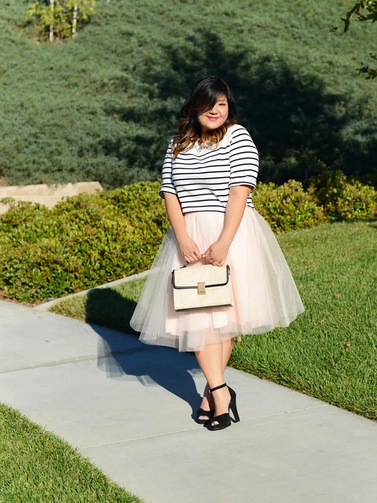 plus size outfit blush white tutu and black and white striped top