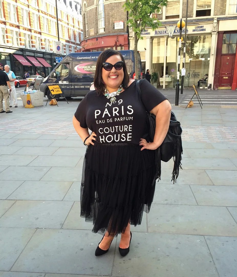 plus size outfit black t-shirt and tutu tulle skirt