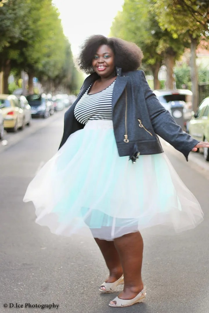 plus size outfit mint and white tutu, striped top, and dark gray biker jacket