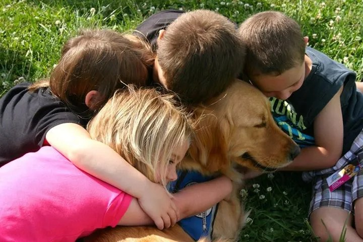 children hugging a golden retriever