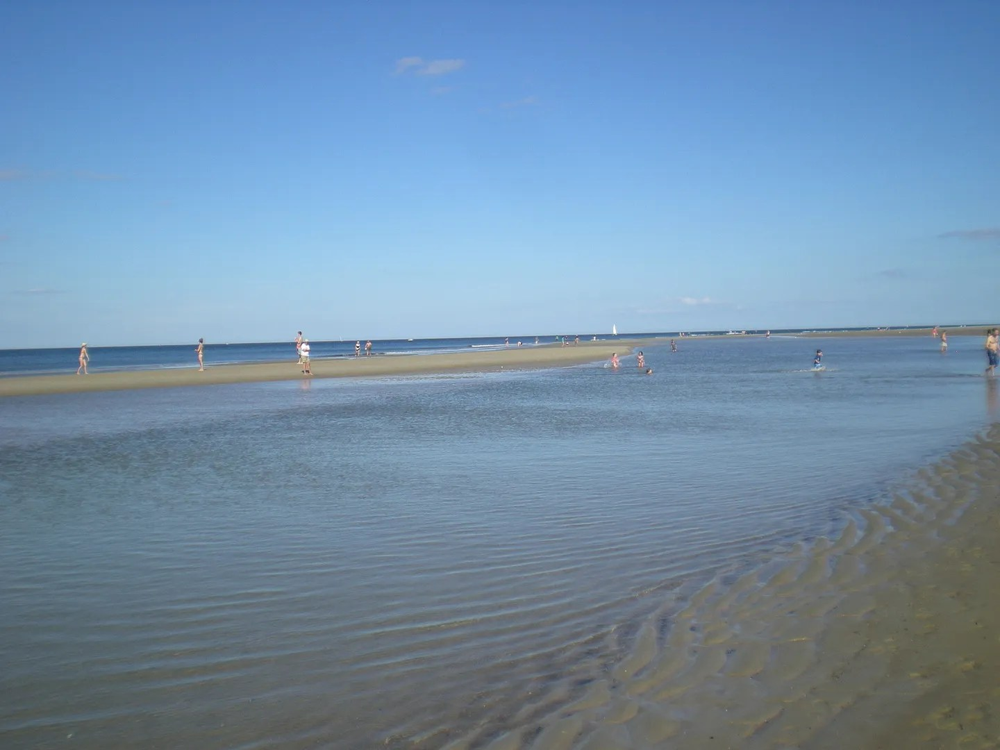 tidal pool and sandbar on beach