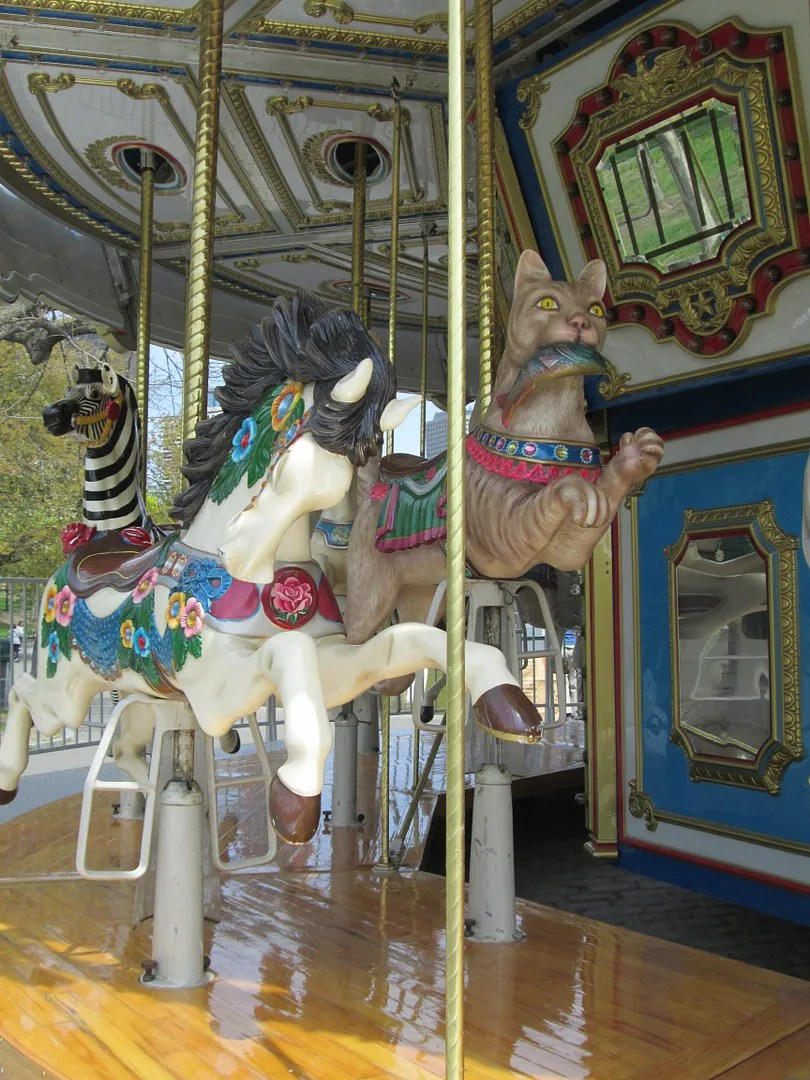 carousel horse and cat
