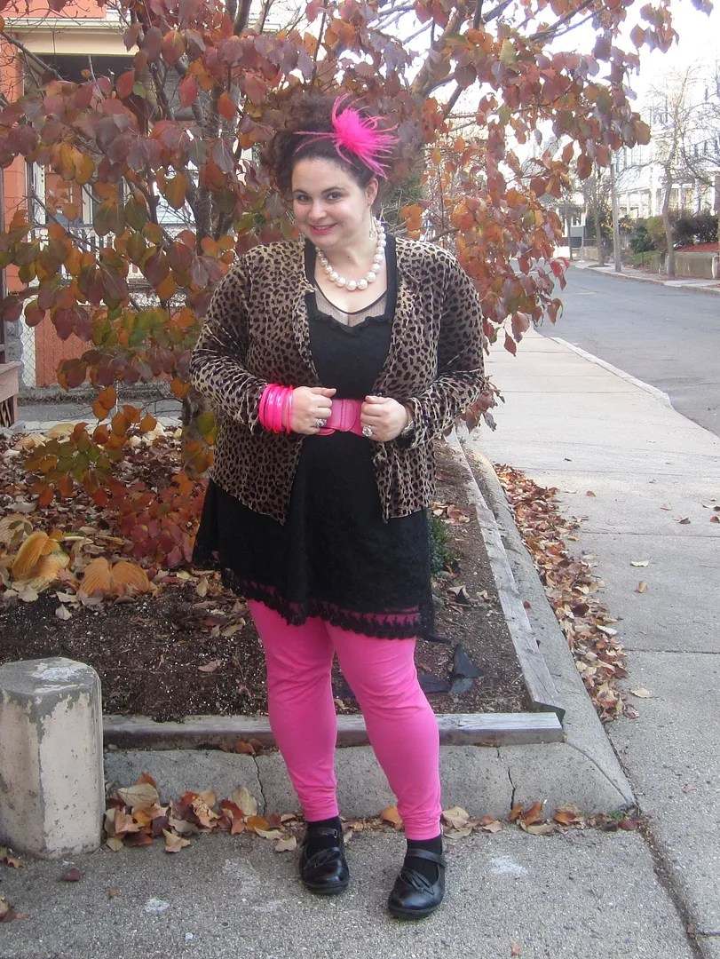 pink and black dress plus size outfit