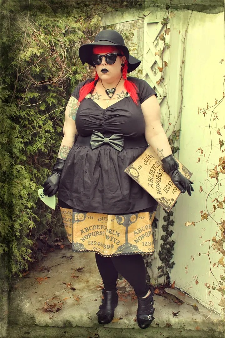 plus size goth outfit inspired by the craft - black dress and ouija board print skirt