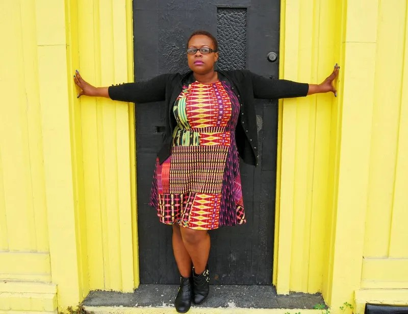 plus size outfit orange and pink ethnic print dress