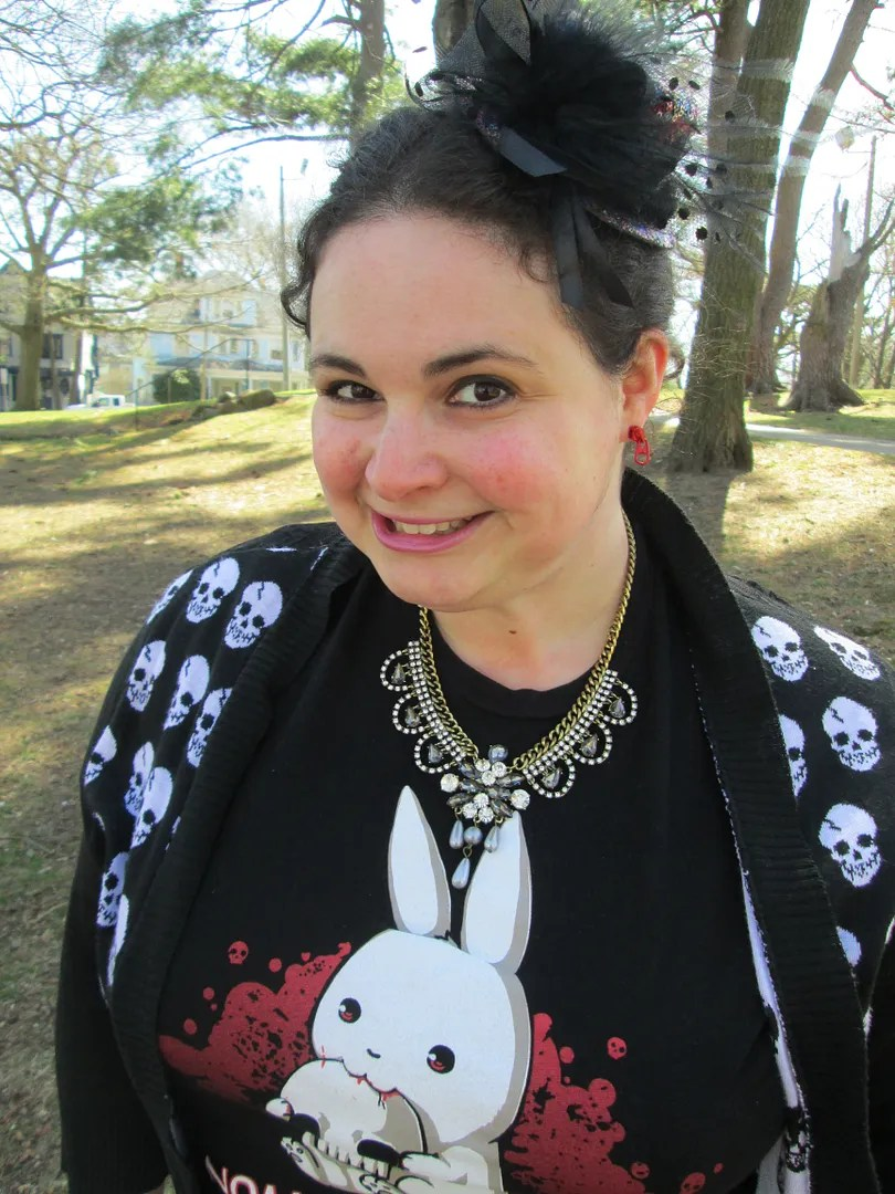 outfit with killer bunny t-shirt, tiny hat, and skull cardigan