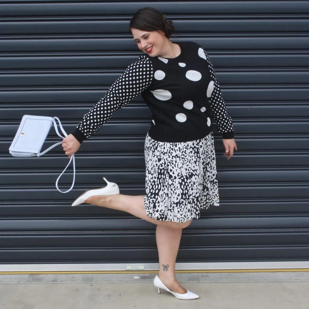 plus size black and white pattern-clashing outfit with leopard print and polka dots