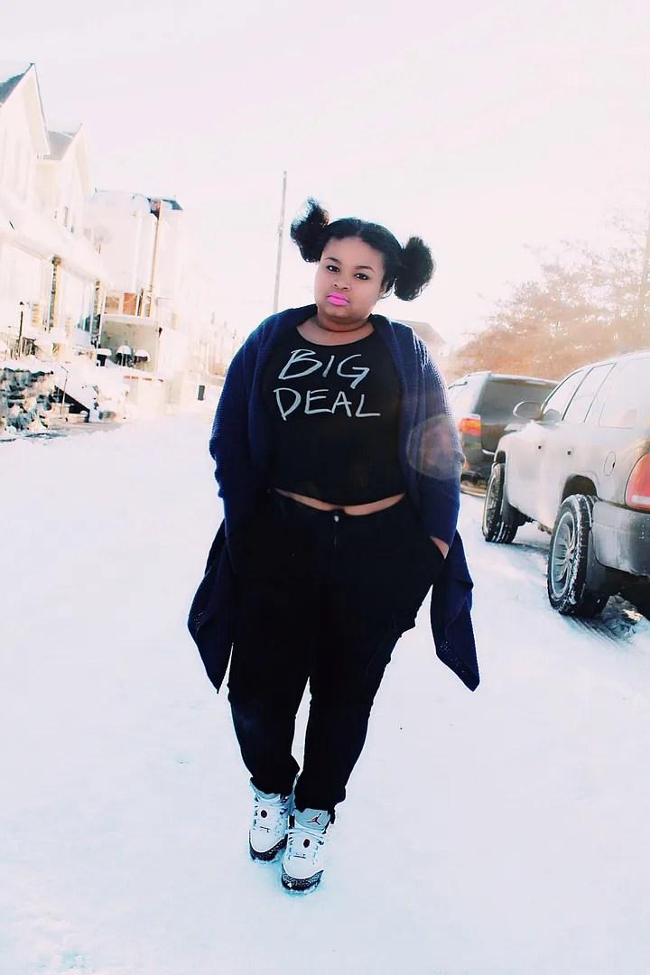 plus size woman wearing black