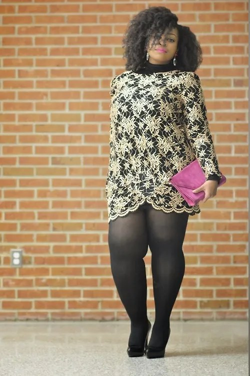 plus size outfit gold lace dress and black tights