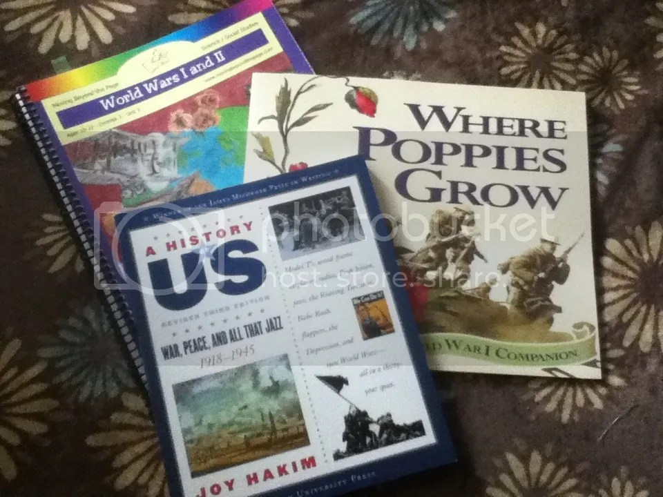 Group picture of the books for the unit World Wars I and II