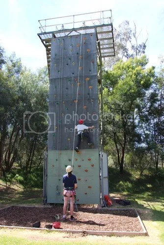 Jericho on the climbing wall.