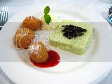 Fried lychee & pistachio parfait with chocolate shavings
