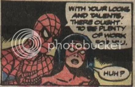 Tie her up with yer webs Spidey!