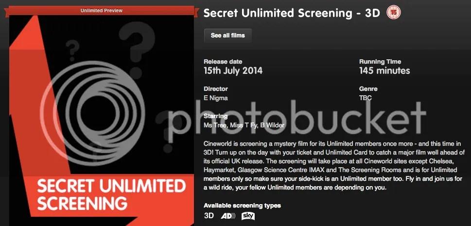 Cineworld Secret Screening 3 - Possible Films?