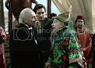 Doctor Who William Hartnell Marco Polo colourised image Kublai Khan