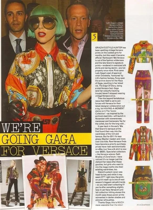 vintage versace lady gaga magazine scan