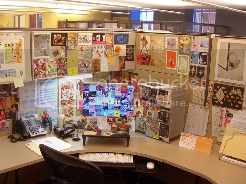 For example, heres a pic of part of my cube at work. I like being surrounded with images and designs that I think are great and inspiring and fun(ny). Also, somehow visual clutter helps me to better concentrate.