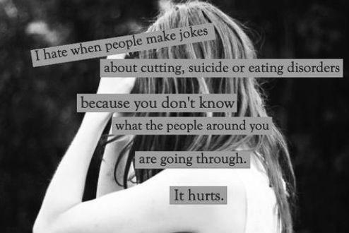 I hate when people make jokes about cutting, suicide, or eating disorders because you don't know what the people around you have been through. It hurts Picture Quote #1