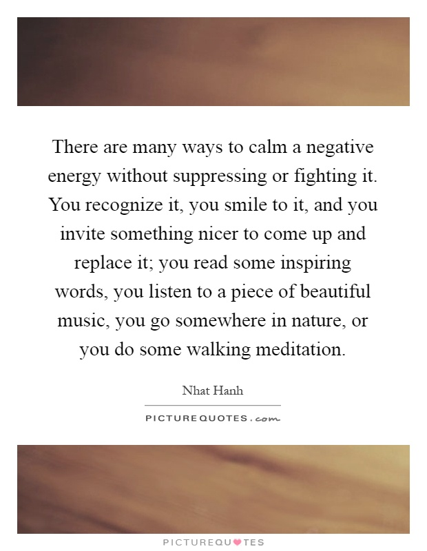 There are many ways to calm a negative energy without suppressing or fighting it. You recognize it, you smile to it, and you invite something nicer to come up and replace it; you read some inspiring words, you listen to a piece of beautiful music, you go somewhere in nature, or you do some walking meditation Picture Quote #1