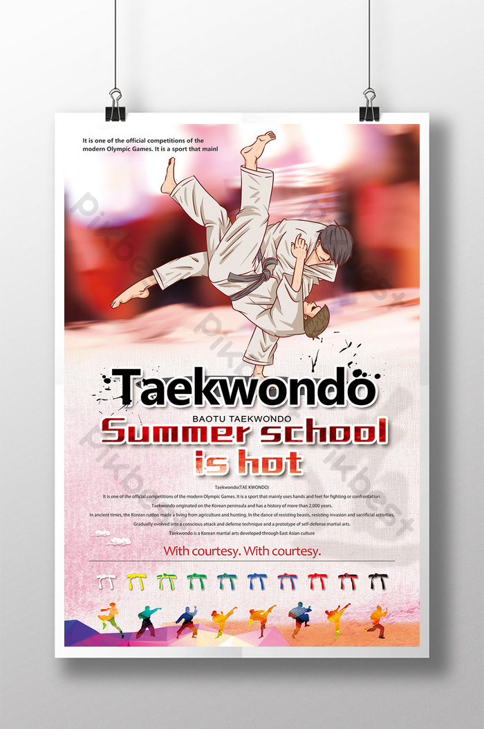 taekwondo sports poster template psd