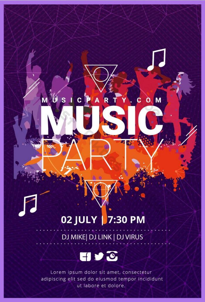 colorful music party poster template