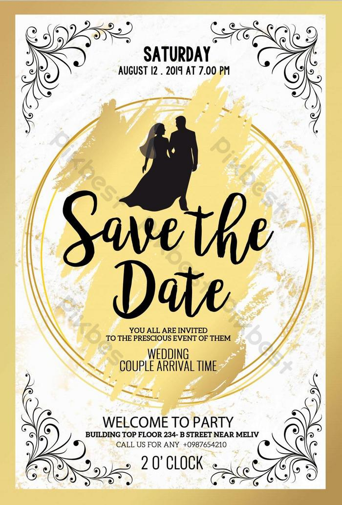 gold elegant save the date poster psd