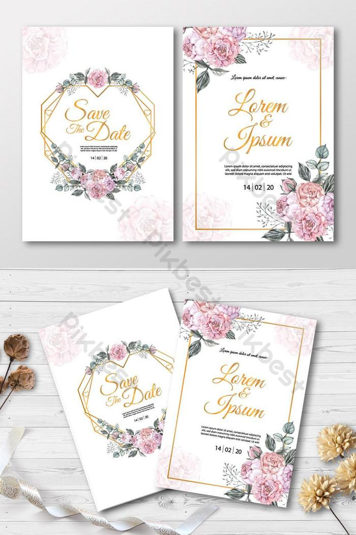 wedding invitation card with pink rose