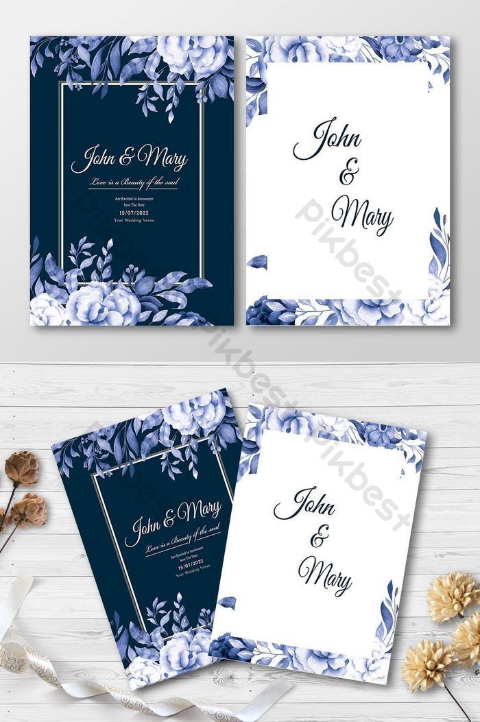 wedding invitation card with blue