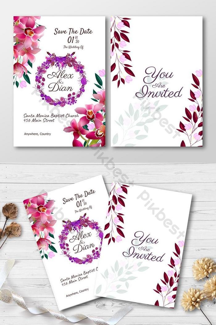 wedding invitation template with red