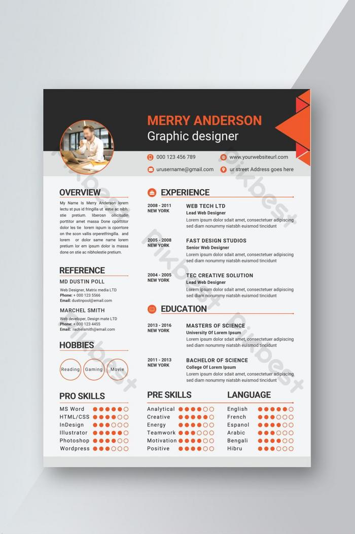 Resume templates are available in photoshop, indesign or adobe illustrator format and ms. Creative Modern Professional Cv Resume Template Design Ai Free Download Pikbest