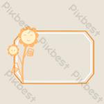 Orange Flower Branch Decorative Border Png Images Psd Free Download Pikbest