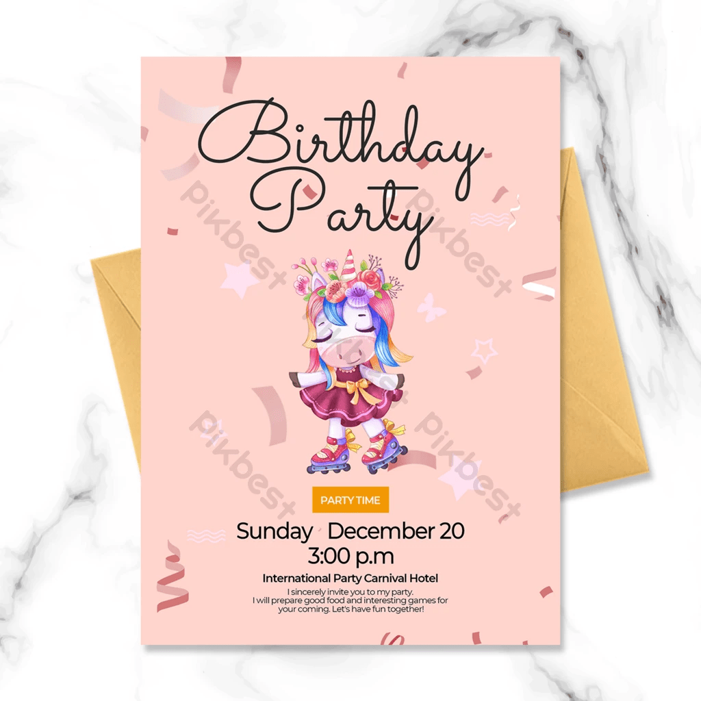 birthday invitation with unicorn