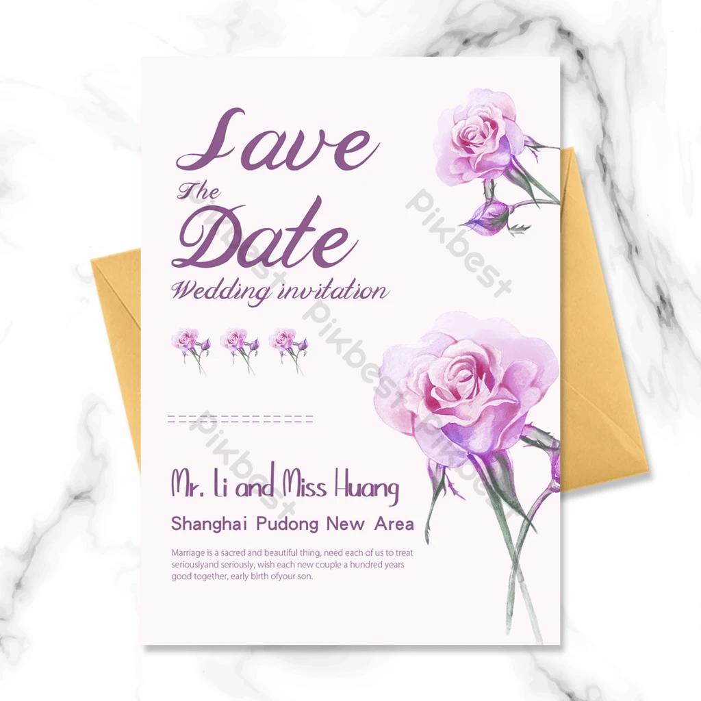 faire part de mariage fond rose fleurs